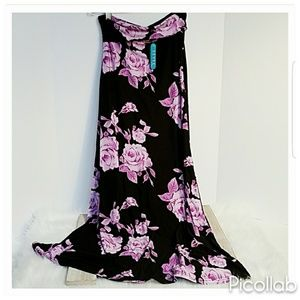 """Buttery Soft """"Purple Roses"""" Maxi Skirt"""